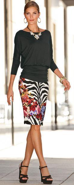 Boston Proper Zebra Floral Skirt