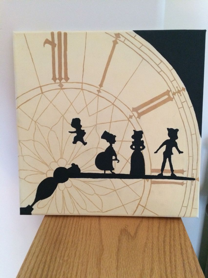 Finally Finished My Canvas Painting Peter Pan Clock Tower Silhouette