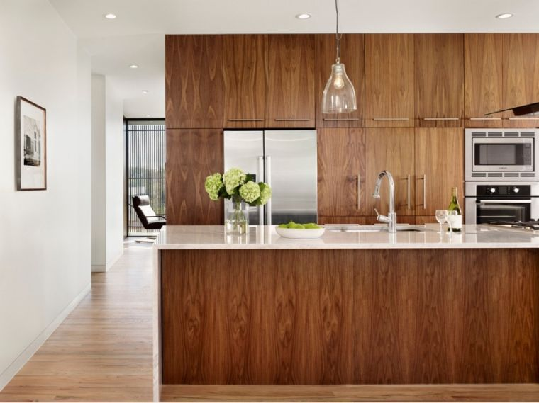La Cuisine Bois Brut Adopte Un Look Design Moderne En 2020 Avec Images Cuisine Moderne Cuisine Bois Moderne