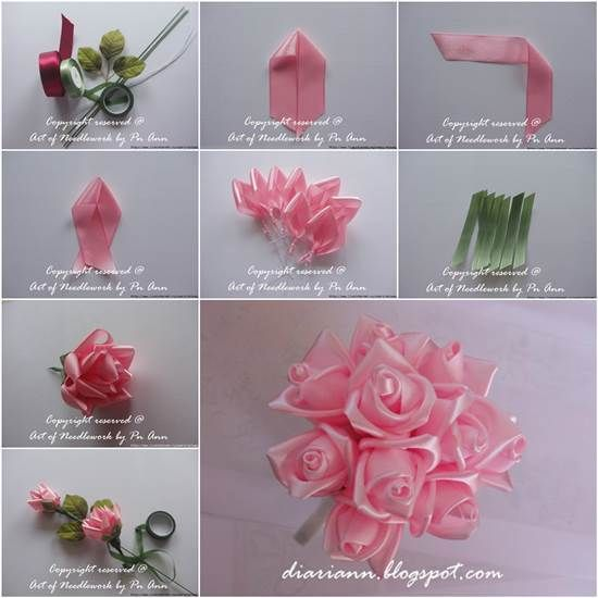 Wie man schöne Satinband-Rose bastelt  #bastelt #satinband #schone #ribbonflower