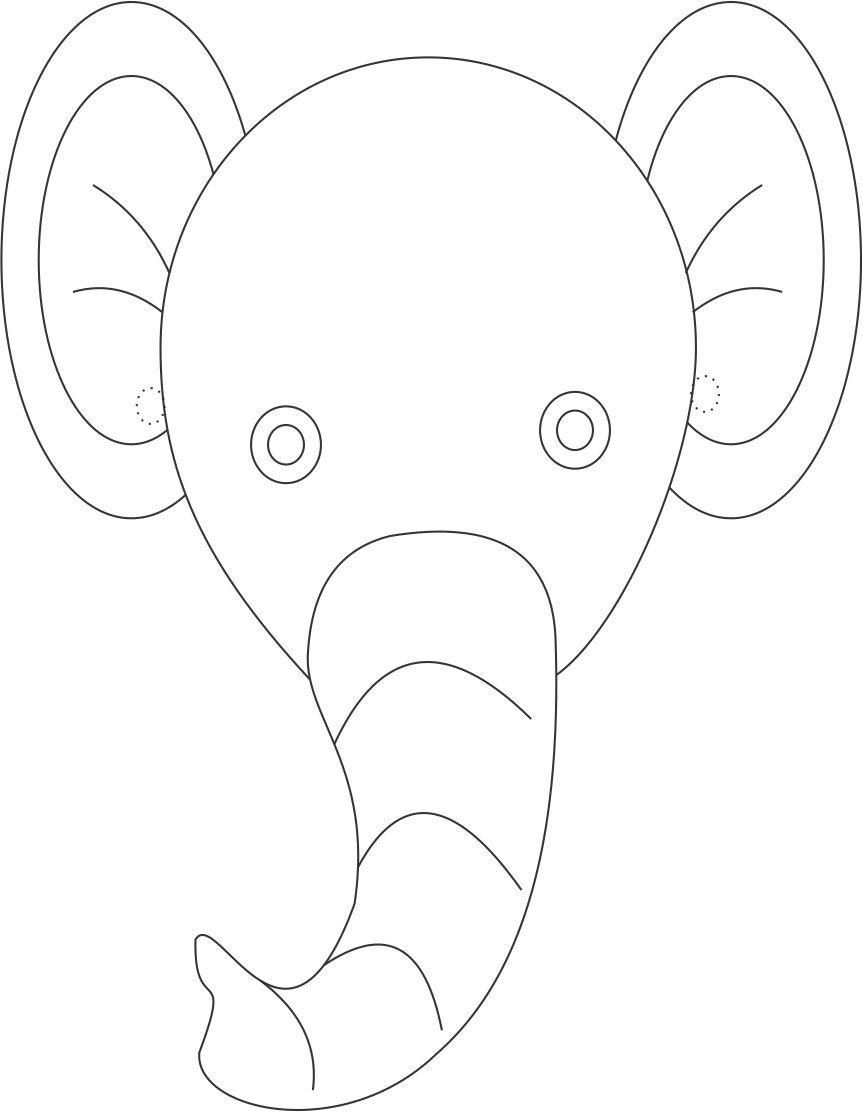 Elephant mask printable coloring page for kids elementary art