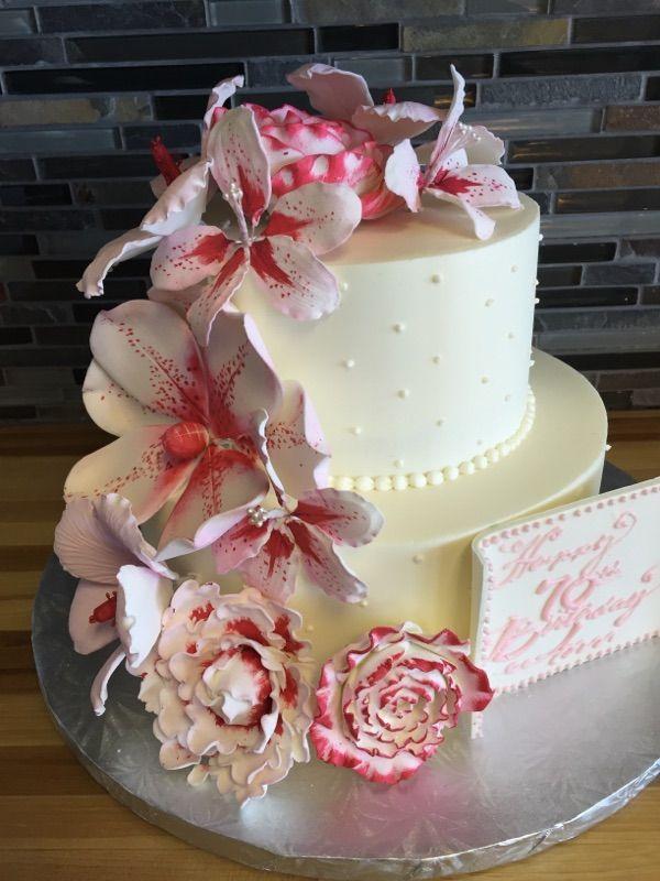 Gumpaste flowers pink lily birthday cake Birthday Cakes