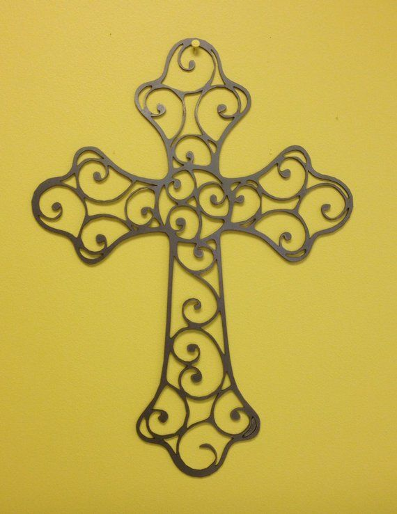 Industrial French cross metal wall art in rust finish 24\