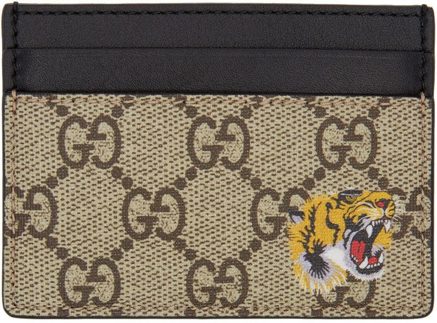 9ab83f000426 Gucci - Beige GG Supreme Tiger Card Holder | MEN'S ACCESSORIES ...