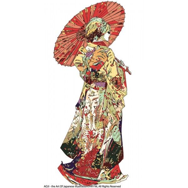 """Hiki #furisode ex-machine, by HR-FM  """"Representation of a traditional wedding dress. I also express the beauty of the fleeting moment.""""  ©AOJI.fr - the Art of Japanese Illustration ©HR-FM, All Rights Reserved"""