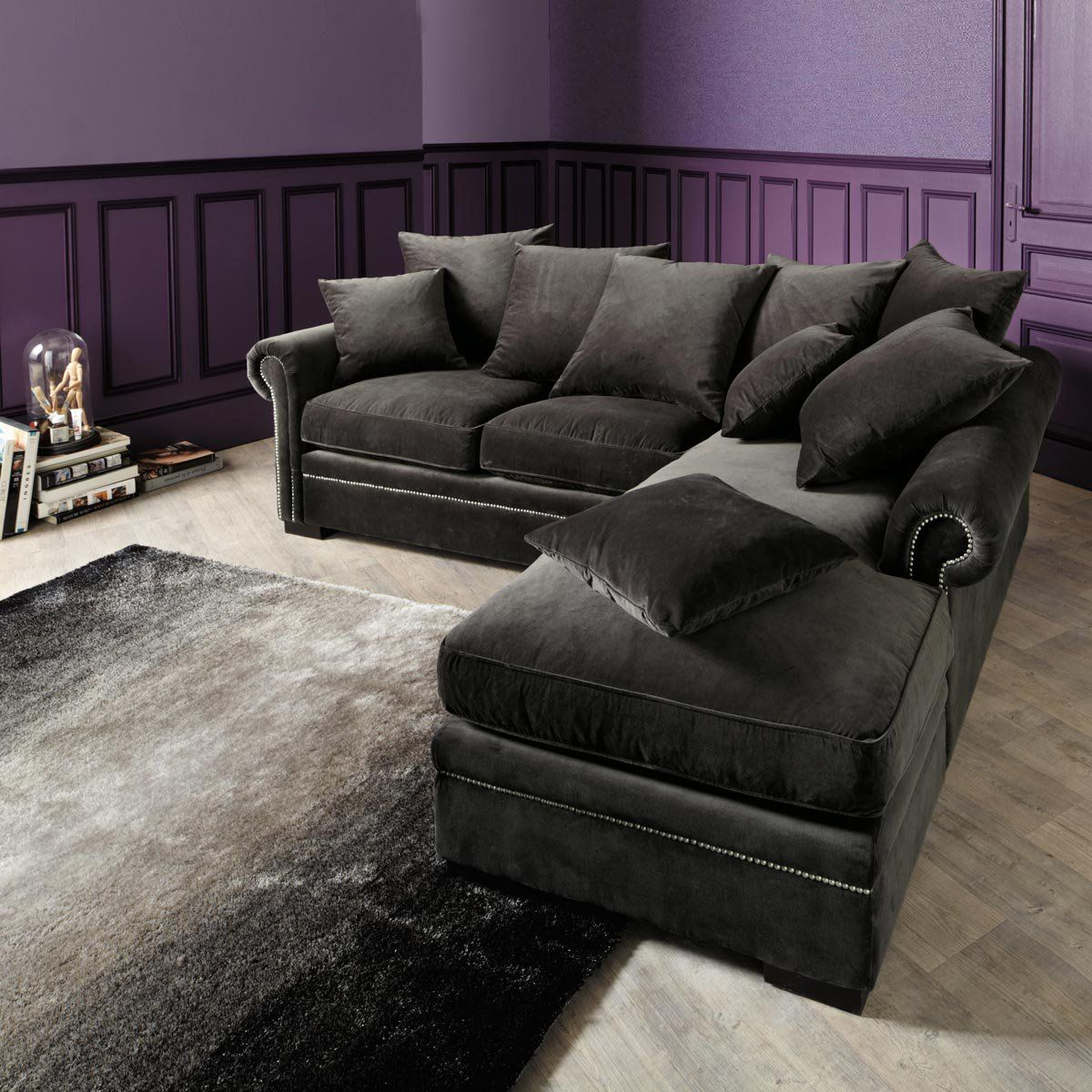 Sectional Corner Sofa In Grey Velvet