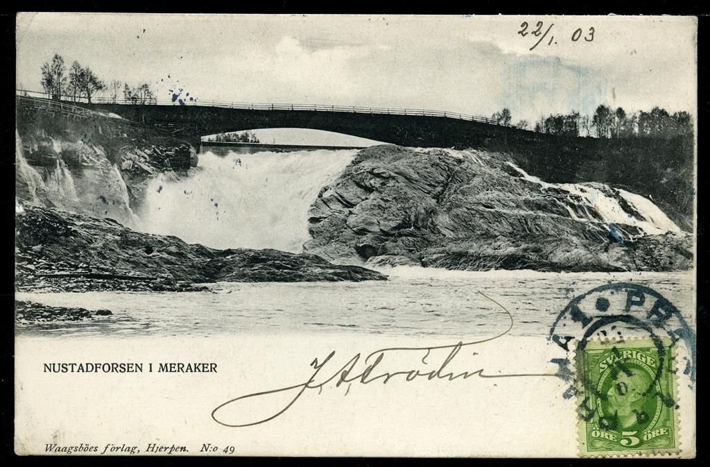 MERÅKER i Nord-Trøndelag fylke. Nustadfossen i nærbilde, svenskprod.kort. Mest int. mht posthistorie, brukt i Sverige til Böhmen 1903