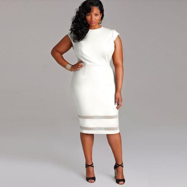 cd66a08e159 Plus Size Women Clothing Slim Office Lady Elegant Bodycon Dress ...