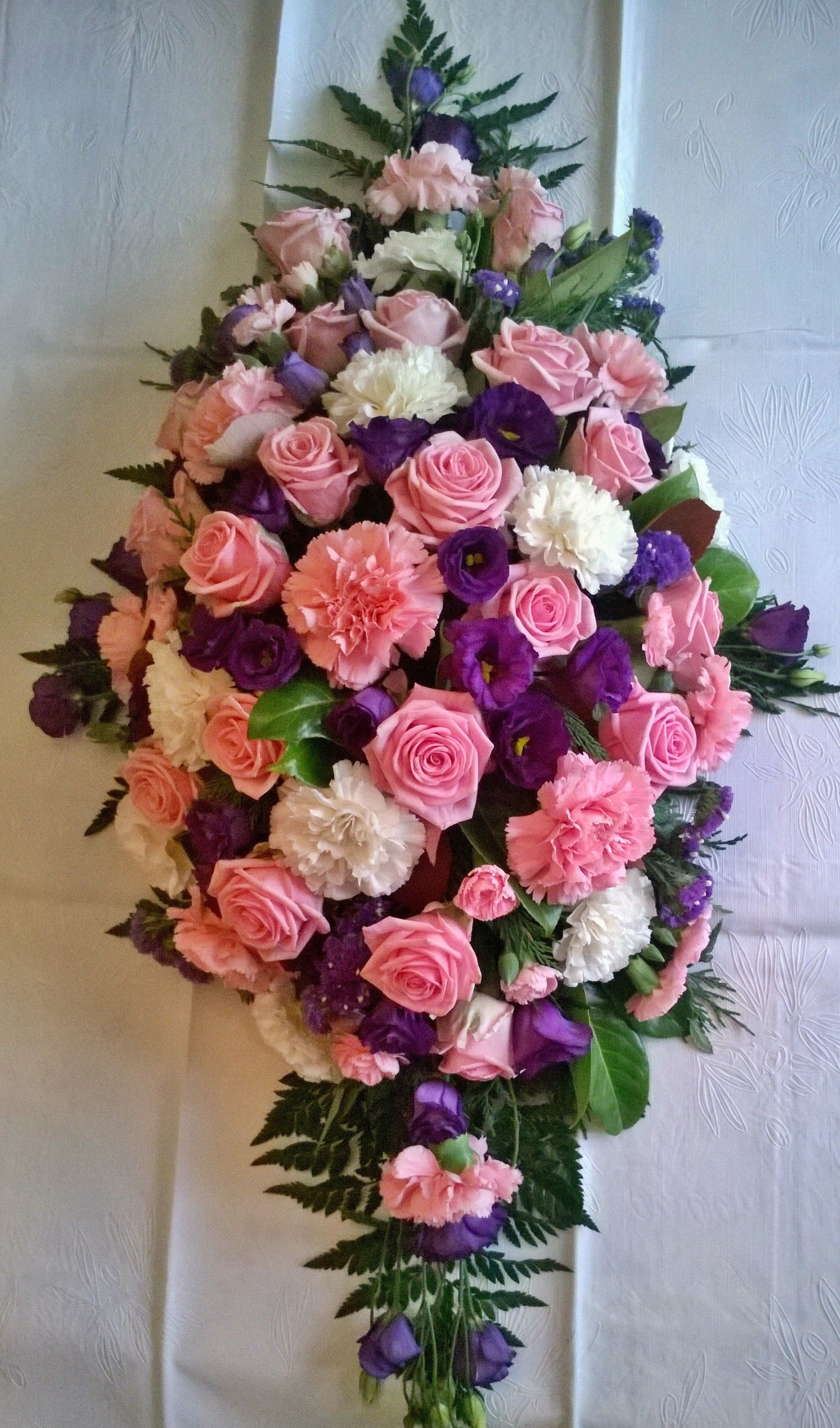 Pink and white roses and carnations purple lisianthus coffin funeral pink and white roses and carnations purple lisianthus coffin funeral spray izmirmasajfo Gallery