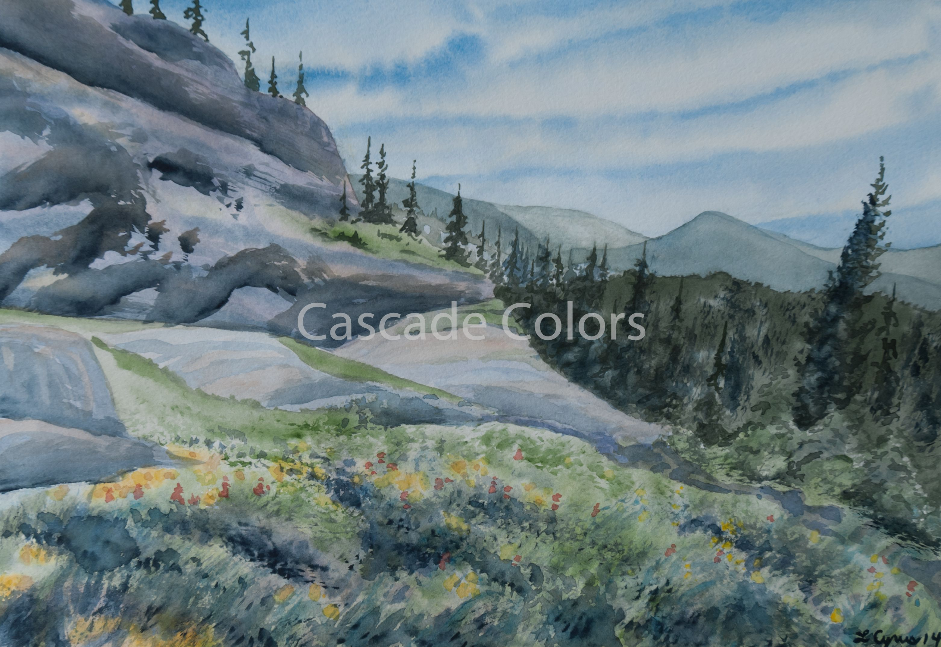 Original Watercolor Painting Of A Colorado Summer Mountain