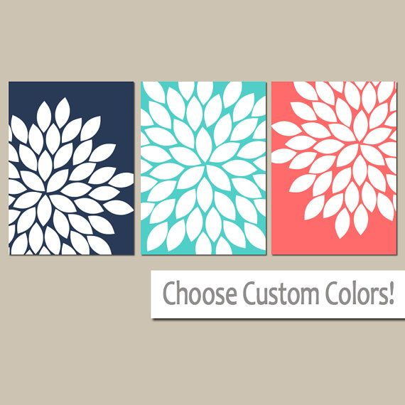 Navy Turquoise Coral Wall Art, CANVAS Or Prints Navy Coral Bathroom  Artwork, Bedroom Pictures, Flower Wall Art, Flower Burst Dahlia Set Of 3 |  Pinterest ...