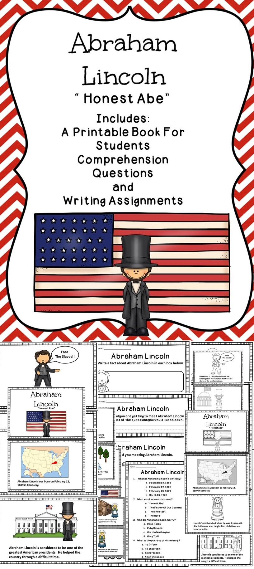 Abraham Lincoln Printable Activities For The Elementary Classroom Education Social Studies Lesson Social Studies Lesson Plans Teaching Activities [ 1824 x 816 Pixel ]