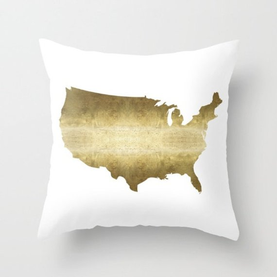 United States Map Pillow Gold Pillow Cover Usa Map Pillow