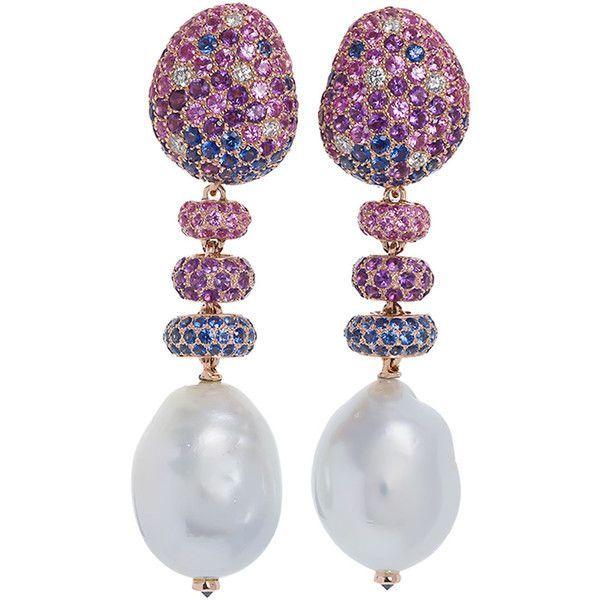 fe612b649 Margot Mckinney Jewelry Bliss Sapphire & Baroque Pearl Drop Earrings...  (1.162.295 RUB) ❤ liked on Polyvore featuring jewelry, earrings, blue  diamond ...