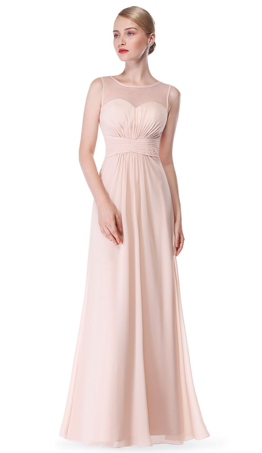 25558dcba5 Ever-Pretty Women s Sexy Long A-Line Sleeveless Tulle Neckline Formal  Evening Prom Party Bridesmaid Maxi Dresses for Women 08761 Blush US  14 Tulle