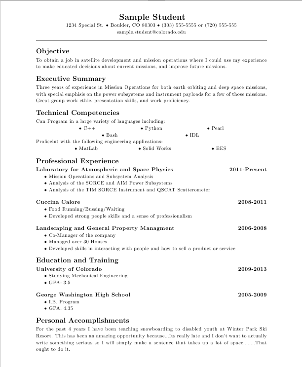 write a resume in latex