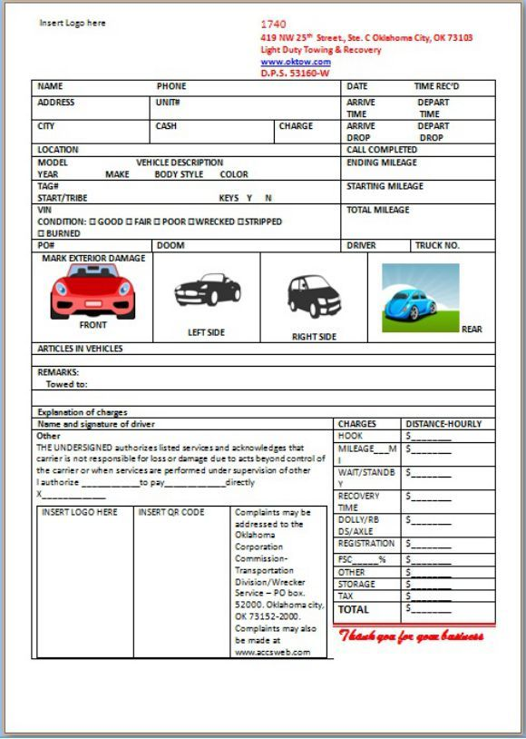 Car Storage Invoice Template | Towing service invoice template ...