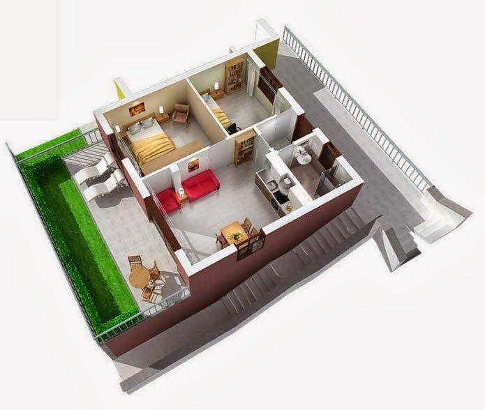 Departamentos peque os planos y dise o en 3d dise os de for Planos apartamentos pequenos