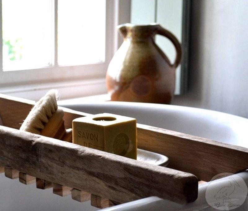 Rustic Bathtub Caddy - Bathtub Tray - Reclaimed wood Bath Tray ...