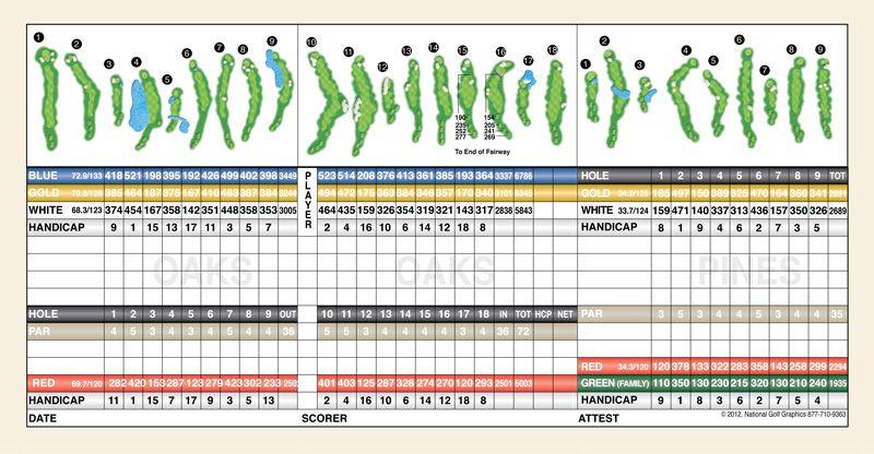 15+ Canyons golf course scorecard information