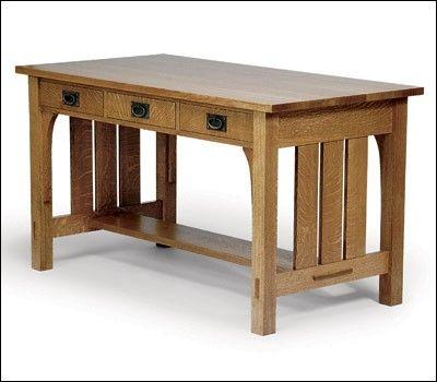 Arts And Crafts Desk Project Plan Mission Furniture Craftsman Desks Diy Wood Projects Furniture