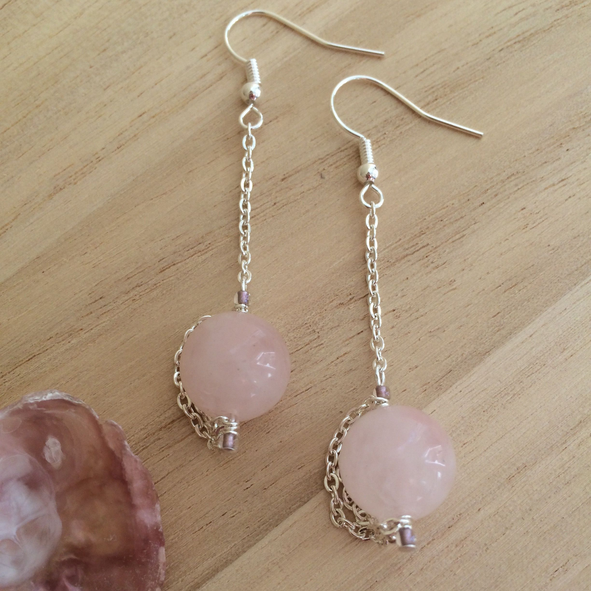 Rose Quartz Earrings With Chain