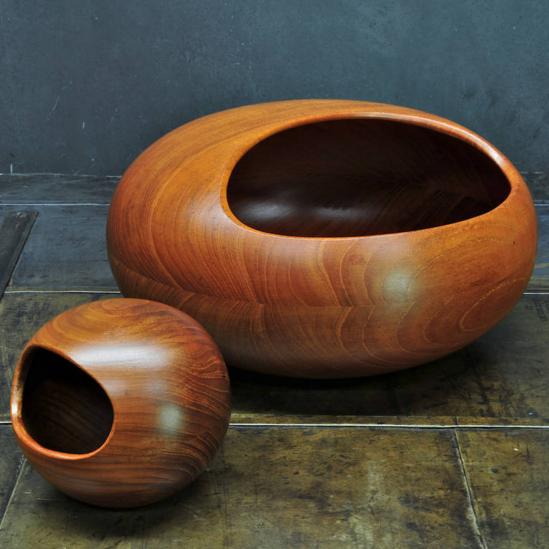 Sigvard Nilsson Teak Nut Bowls For S 246 We Konst C1954