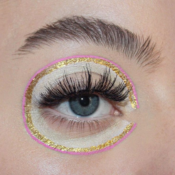 pink and gold editorial make up