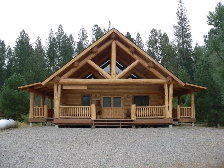Log cabin porches leighter residence this log home is for Log home porches