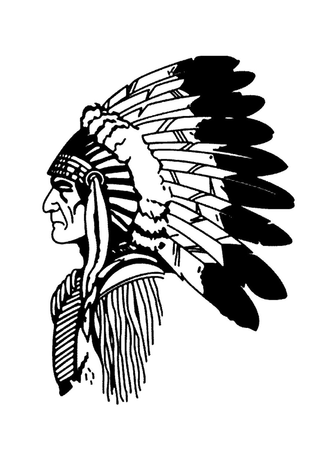 896dee8f70377 Free coloring page coloring-simple-native-american-profile. Simple drawing  of a Indian Chief (profile view)