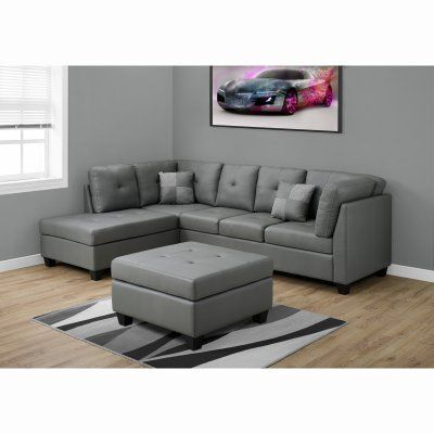 Recliner Sofa Monarch Specialties Bonded Leather Sectional Sofa Light Grey I LG Durable
