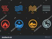 Vector Illustration Four Elements Icons Line Stock Vector Royalty Free 764304961 Vector illustration of four elements icons line and round symbols set Logo template Wind...