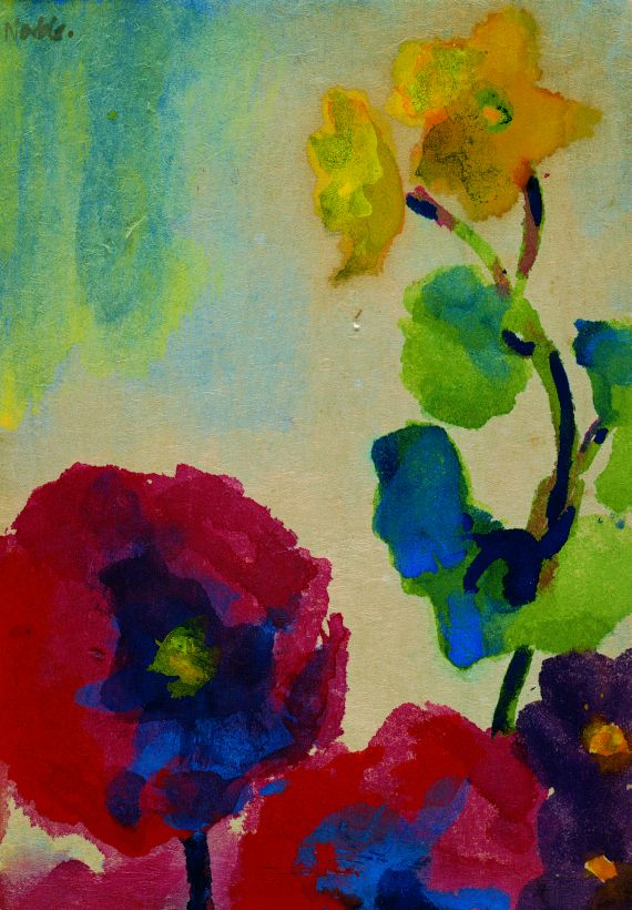 Emil Nolde Red Poppy And Yellow Flowers 1951 Watercolor Emil Nolde Flower Art Flower Painting
