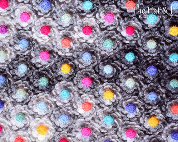 Crochet Blanket PATTERN - Rainy Day Flowers - crochet pattern for ...