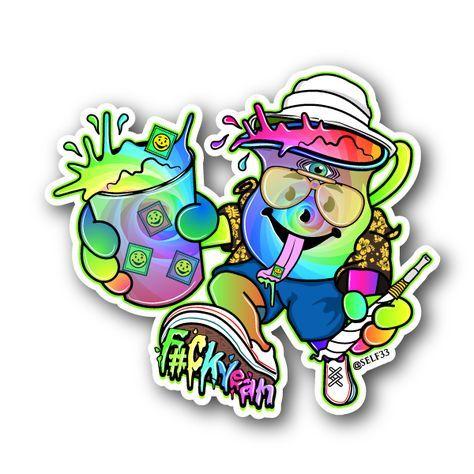 Electric kool kid sticker vinyl stickers marijuana stickers clear stickers