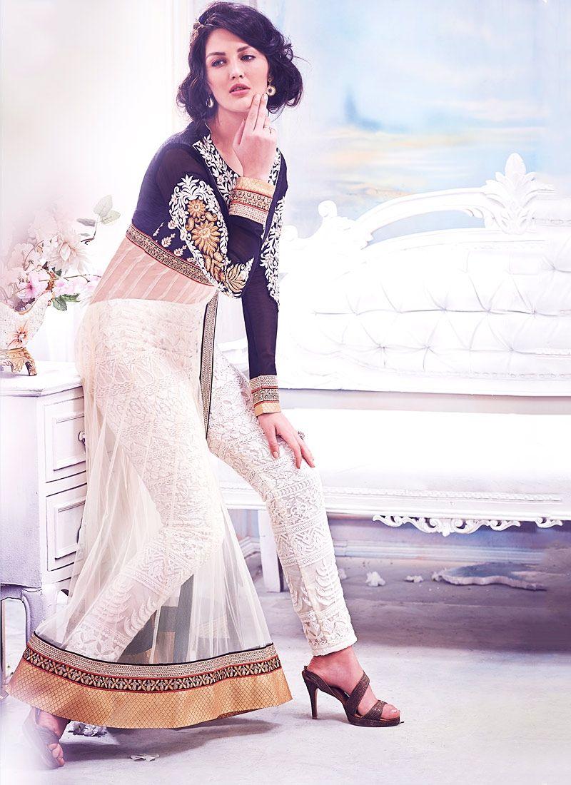 Designer salwar kameez mesmeric peach color net designer suit - Find This Pin And More On Salwar Kameez Wonderful Black Party And Designer Wear Pent Style Suit Black Net