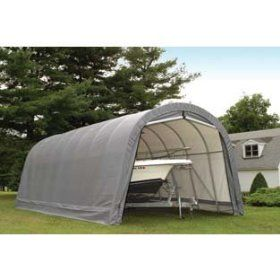 Shelterlogic 12 Ft W Round Style Instant Garage 28ft L X 12ft W X 10ft H 1 5 8in Frame Grey Model 902233 Instant Garage Portable Garage Portable Carport