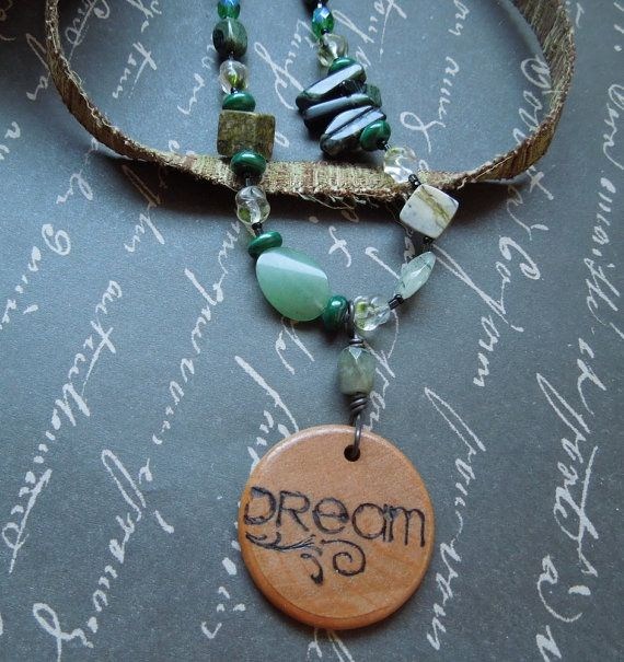 Green Fabric Necklace with Wood Dream Pendant by dwhitecreations, $25.00