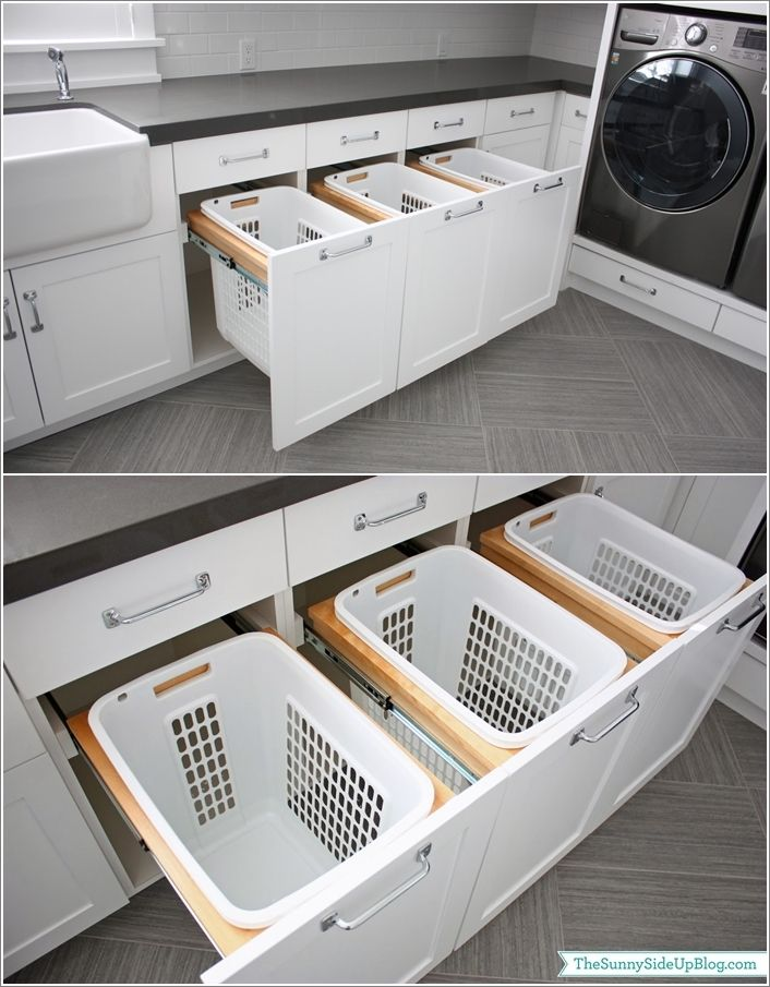 Install A Highly Functional Pull Out Basket Drawer … | Laundry …
