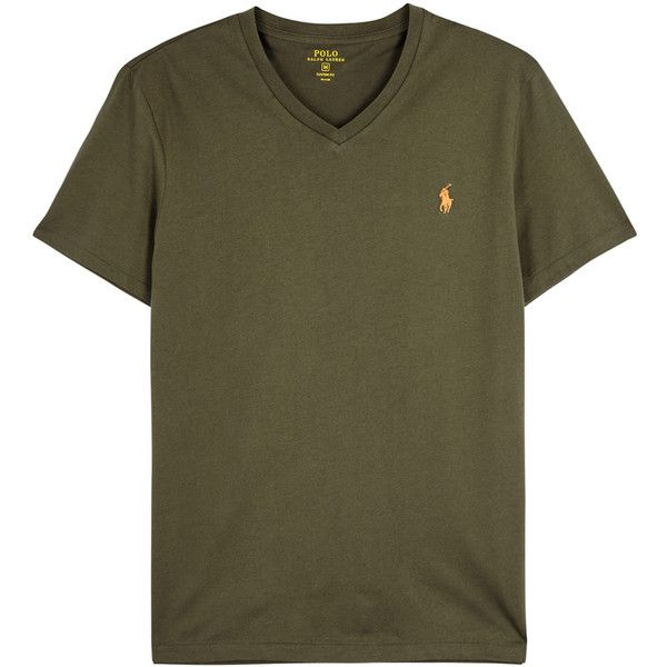 Polo Ralph Lauren Olive custom cotton T-shirt ($57) ❤ liked on Polyvore  featuring men's fashion, men's clothing, men's shirts, men's t-shirts, mens  cotton ...