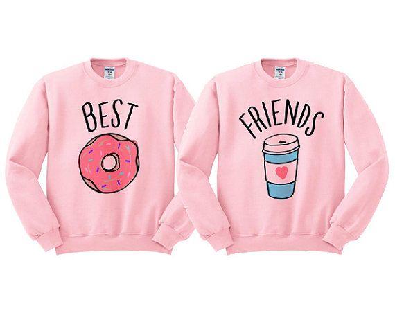 Mejores amigos dona y café dúo sudadera camiseta de mejor  c08475aa1a91