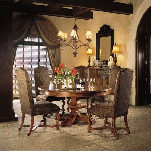 Stanley Furniture Santa Barbara Celebration Table With Upholstered Chairs Dining Set