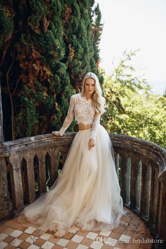 79b1d5c172 Fashion Unique Ivory Two Piece Wedding Dresses Top Lace Long Sleeve Flowy  Cheap Bohemian Wedding Dress Zipper Back Sexy Beach Bridal Gown