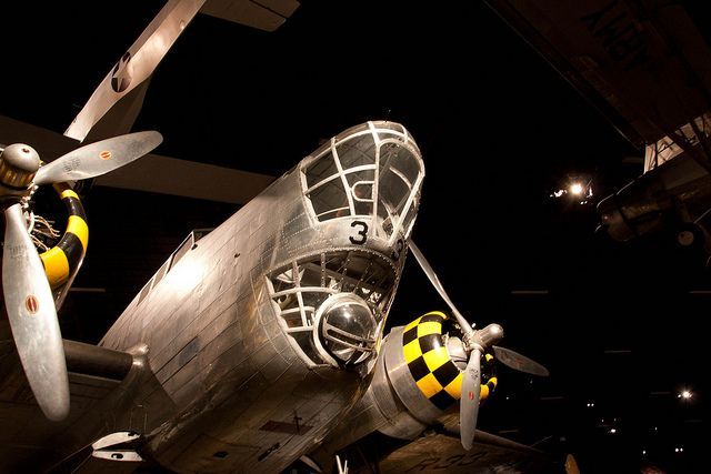 Looking at the nose of the Douglas B-18 medium bomber.