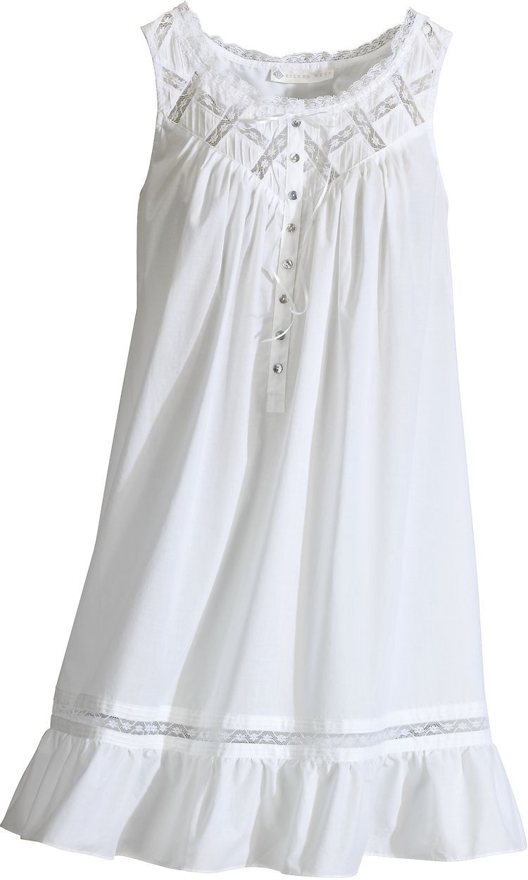 46294b0bcd Cotton Lawn Short Nightgown From Eileen West