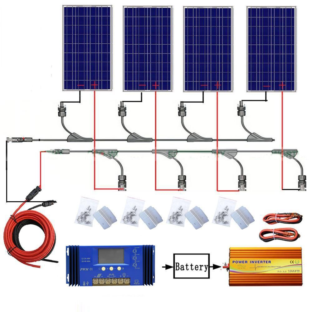 Eco 400w 4 100w Solar Panel Complete Kit 1kw Pure Sine Wave Inverter Home Boat Off Grid System Solar Panels Solar Panel Kits