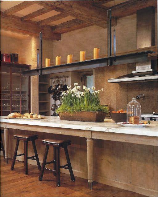 Contemporary Rustic Kitchen Design: Antique & Modern Kitchen / John Saladino