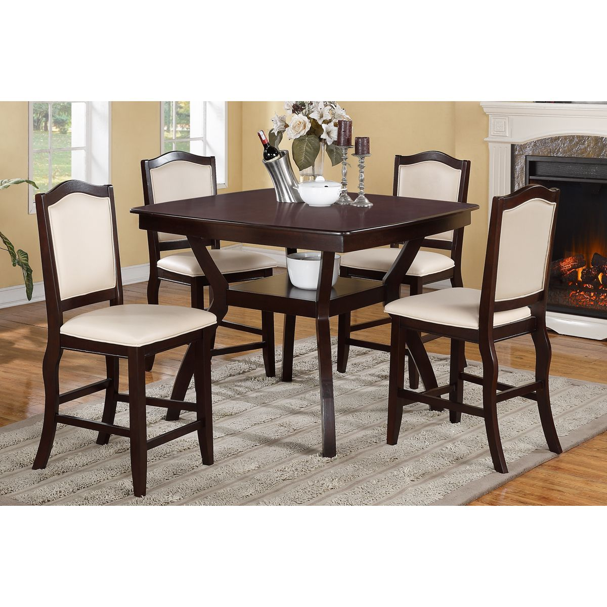 Poundex Halden Dark Brown 5 Piece Counter Height Dining Set