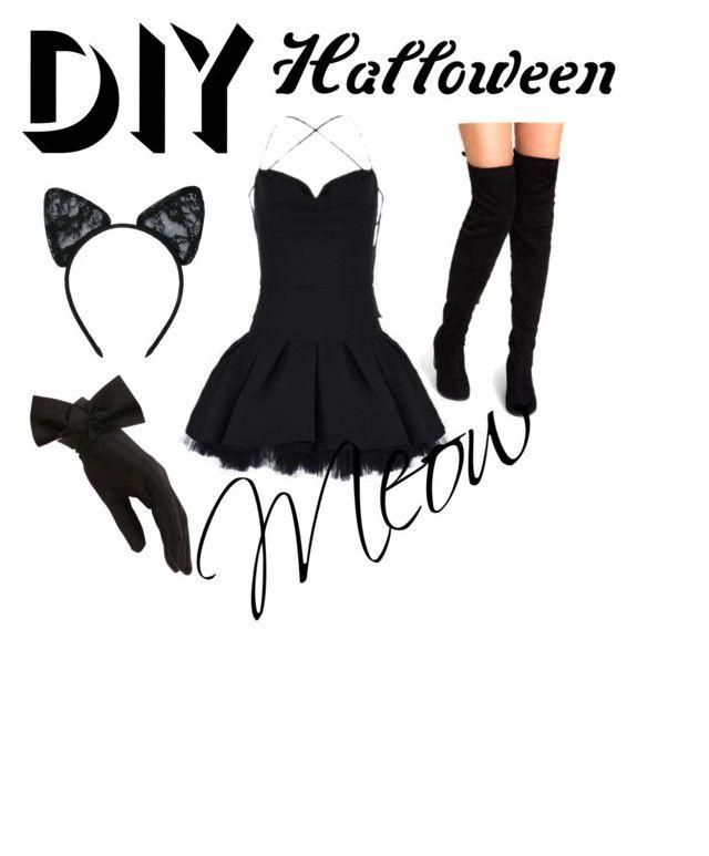 """#kittygonebad"" by det3rminati0n ❤ liked on Polyvore featuring Maison Close, Black, Valentino, halloweencostume and DIYHalloween"