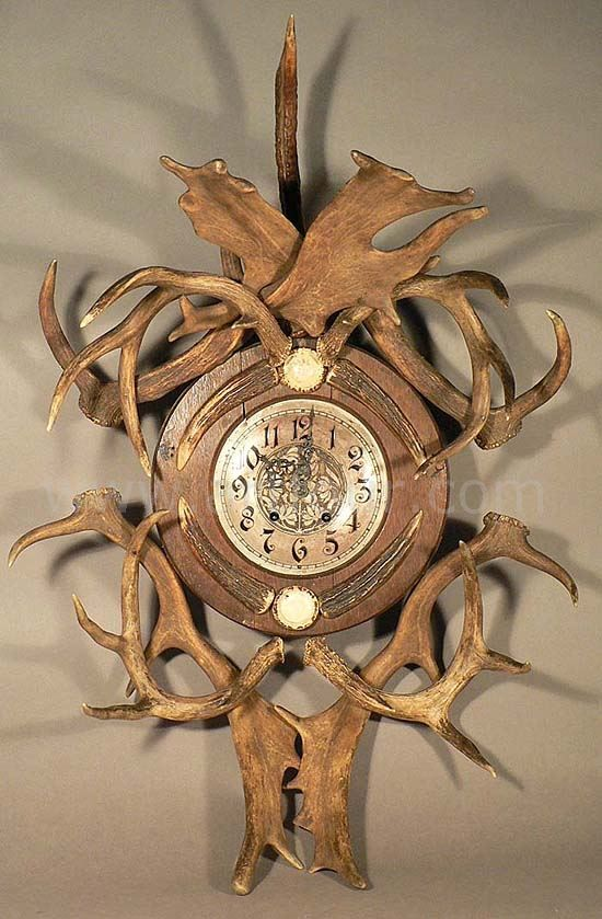 Antique Rustic Antler Wall Clock 1890 Antlers Decor Antlers Deer Clock